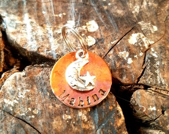 Custom Copper Moon Star Dog Tag, Custom Hand Stamped Natural or Heat Colored Copper Celestial Dog Tag, Moon Dog ID Tag, Cute Star Dog Tag