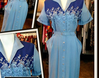 Vintage Blue with Embroidery Button Down Shirtwaist Dress Pearl Buttons FREE SHIPPING