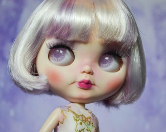 OOAK Custom Factory Blythe Doll - With Short White and Purple Hair - Milky Way