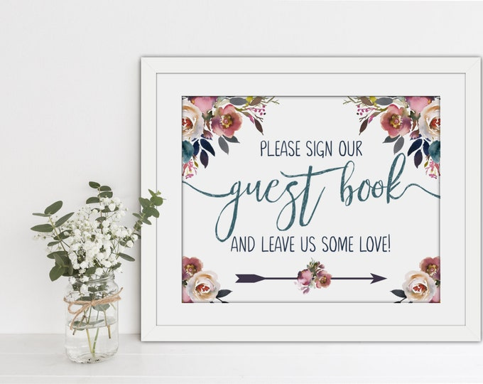 INSTANT DOWLOAD - Printable Wedding Guest Book Sign - Layla Collection