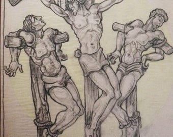 Crucifixion of Christ - Heinrich Arad Schmidt - Art Deco - Religious Iconography - Antique Art Nouveau - Church Art - Graphite Drawing