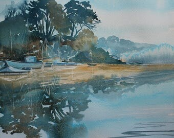 Cornwall landscape painting, Port Navas Creek, watercolour of Helford River, river painting, water reflections, misty morning, boat painting