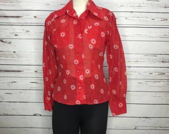 Ladies vintage 70's red pattern western casual blouse