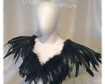 Feather Bra Top & Epaulettes Festival,Burlesque,Gothic, Black Wings