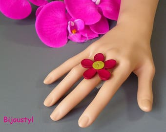Fancy Burgundy flower and button anise ring Adjustable ring