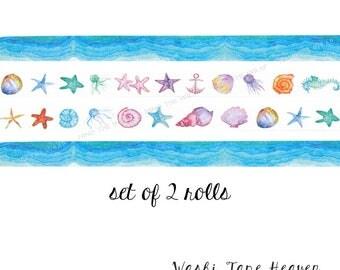"NEW Two Rolls ""Sea Elf"" Seashells and ""Ocean Blue"" Waves Washi Tape Set - 15mm x 8m each - Coastal Summer Beach Vacation Planners Decoration"