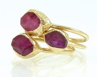 Ruby Ring, Ruby, July Birthstone Ring, Stack Ruby Ring, Natural Madagascar Stone,Gemstone Ring, Ruby Stacking Ring, Gold Ring,Minimal Ring.