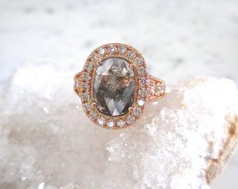 Black Diamond Engagement Ring - Oval Diamond, Natural Diamond, Genuine Diamonds, Rose Gold, Diamond Halo, Diamond Band, Engagement Ring