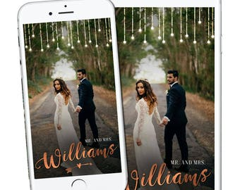 Unique Copper Wedding Geofilter, Rustic Wedding Snapchat Geofilter, Autumn Fall Wedding Geofilter Classic Simple Elegant Personal Minimal