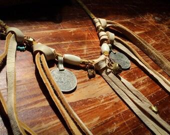 Leather Fringe Tribal Boho Treasure Necklace - Coins