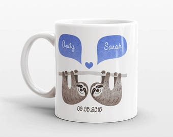 SLOTH Mug, Couple Mug, Best Selling Item, Custom Mug, Anniversary Gift for Men, Unique Coffee Mug, Personalized Mug, Coffee Cup, Animal Mug
