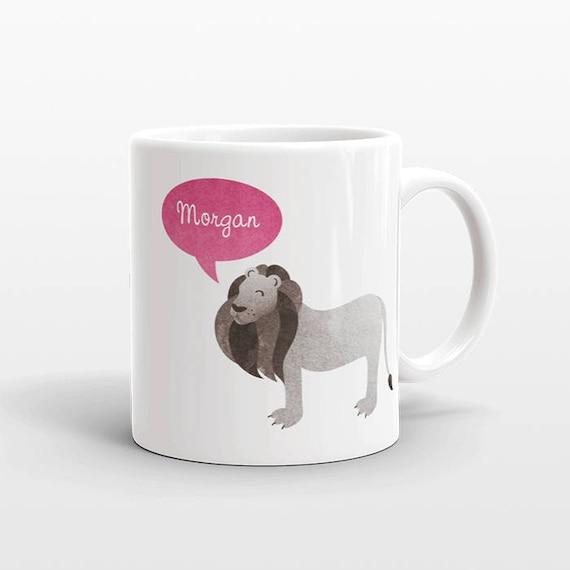 Custom Name Mug, Lion Mug, Personalized Mug, Unique Coffee Mug, Office Mug, Best Friend Gift, Birthday Gift, Cute Animal Lover Gift