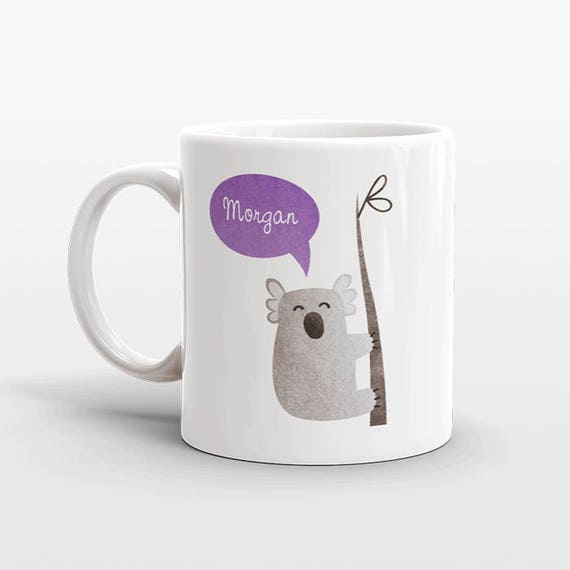 Custom Name Mug, Koala Mug, Personalized Mug, Unique Coffee Mug, Office Mug, Best Friend Gift, Birthday Gift, Cute Animal Lover Gift