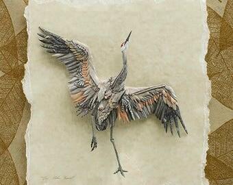 Joyous - Giclee Print Reproduction of Sandhill Crane Paper Sculpture