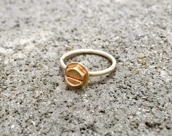 Bronze Hex Screw on Handmade Sterling Silver Ring. Industrial Jewelry. Hardware Silver Ring for Men and Women. Mixed Metal Ring.