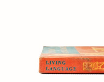 Vintage Schoolbook | Living Language | Antique Book | Vintage Textbook | Old School Books