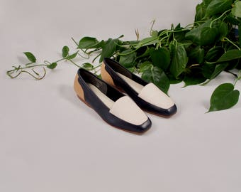 colorblock loafer / enzo angiolini / minimalist loafer / navy loafer / 8 - 38.5 / 90s loafer / smoking slipper / white loafer / 90s