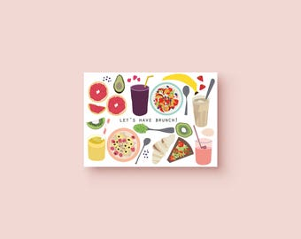 Brunch card - printable // breakfast // digital // invitation // food // card // greeting // print // happy // birthday gift // christmas