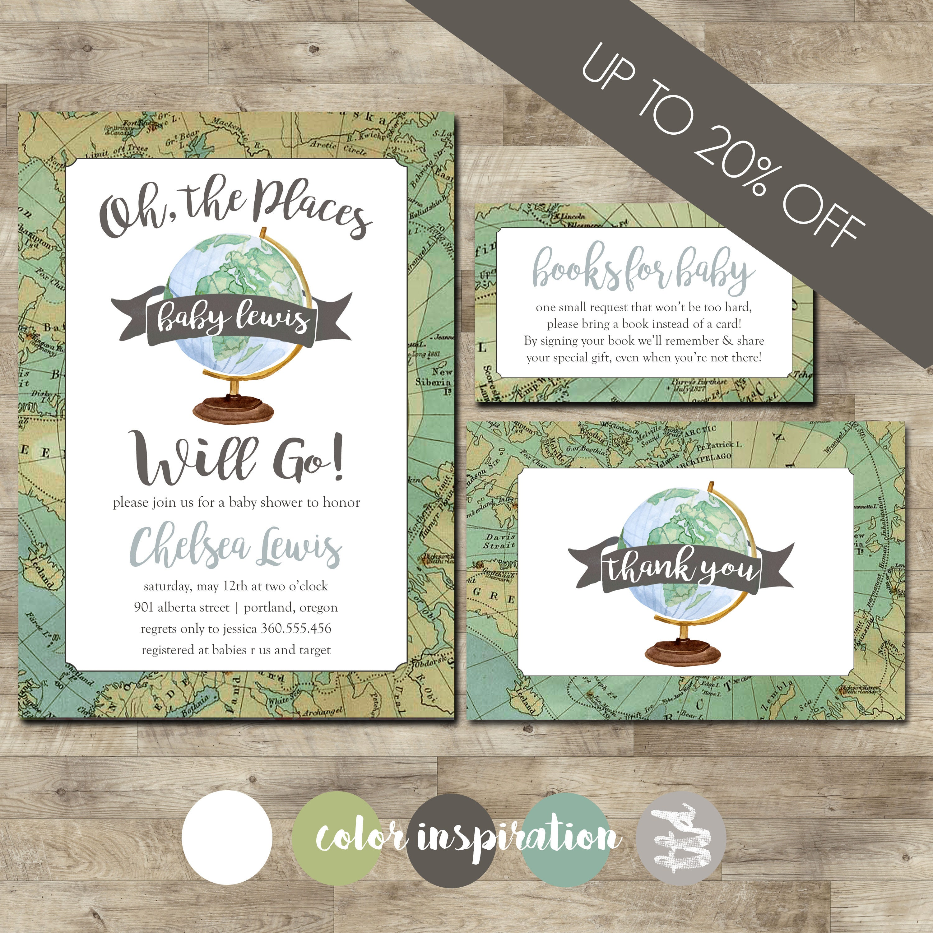 World Baby Shower Invitation PACKAGE, Travel Baby Shower, Oh the ...