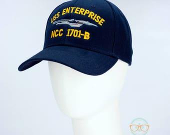 Star Trek Hat - USS Enterprise 1701-B - Embroidered Geeky Baseball Cap - Naval Hat Inspired