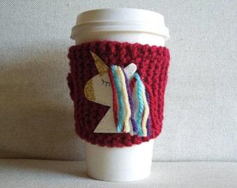 Unicorn Coffee Cozy, Mug Sweater, Coffee Sleeve, Mug Cozy / Red Rainbow