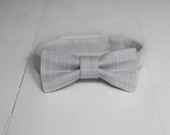 Boys Gray Bow Tie, Toddler Gray Bow Tie Light Gray Chambray Baby Bow Tie Little Boys Bow Tie Light Gray Toddler Bow Tie Toddler Boys Bow Tie