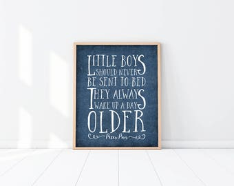 Peter Pan Nursery Art Print - Little Boys - Quote - Navy Blue - Baby Shower Gift - Twin Boys - Twins - Brothers - Nursery decor - SKU:107