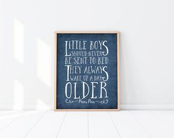 Peter Pan Nursery Art Print - Little Boys - Quote - Navy Blue - Baby Shower Gift - Twin Boys - Twins - Brothers - Nursery decor - SKU:107