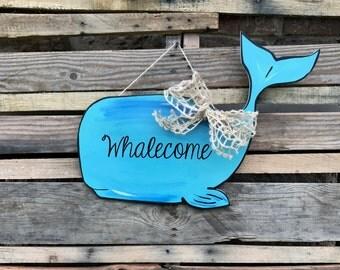 """Finished Whale Door Hanger """"Whalecome"""" Door Hanger, Painted"""