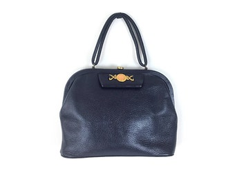 Leather purse, navy leather bag, navy blue purse, navy blue bag, navy purse, navy bag, vintage purse, vintage bag, top handle bag
