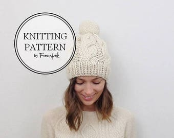 SALE Knitting Pattern | Cable Knit Pom-Pom Hat | THE BELFAST Instant Download