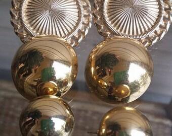 Vintage 80's lot of 3 gold tone pair of pierced earrings
