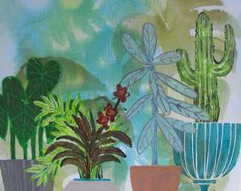 Original painting on stretched canvas, modern southwest decor, 8 X 8, acrylic paint, acrylic inks, watercolor pen and ink, Cactus Garden