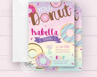 Donut Invitation, Donut Invite, Donut Birthday Invite, Donut Birthday Invitation, Sprinkle Invite, Donut Party, Pastel Rainbow