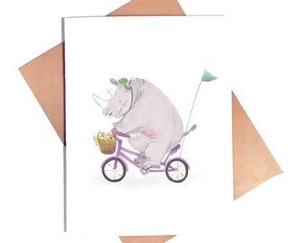 Rhinocerous Biking Card