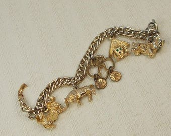 Vintage Personalized Gold Finish Dog, Bull, and Brownie Charm Bracelet  2975