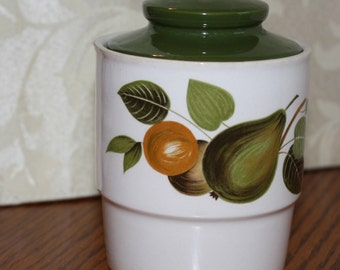 Vintage Johnson Brothers Ironstone Sugar Bowl with Fruit and an Olive Green Lid made in England