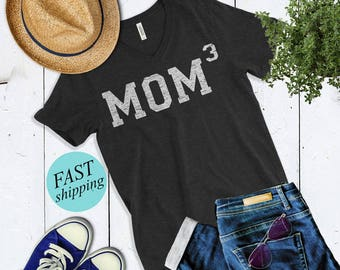 Mom 3 Shirt. Mom of Three shirt. Mother of 3 shirt. Mom Cubed shirt. Mother's Day Gift For Mom. Pregnancy Announcement Shirt. New Mom Gift.