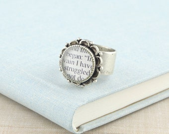 Pride and Prejudice Ring / Jane Austen's Pride and Prejudice / Jane Austen Ring / Literature Jewelry / Jane Austen Gifts / Book Jewelry