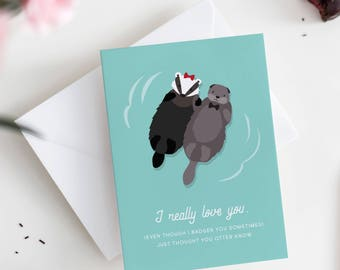 Cute Card for Husband - Funny Card for Husband - Otter Card - Anniversary Card for Husband - Sweet Card for Husband - First Anniversary