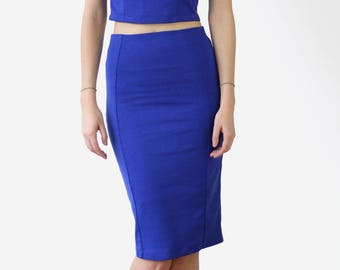 Womens Stretchy Pencil Skirt, Bodycon Midi Skirt, Fitted Knee Length Skirt, Fitted Tube Skirt, Blue Skirt, Womens Skirts in Royal Blue