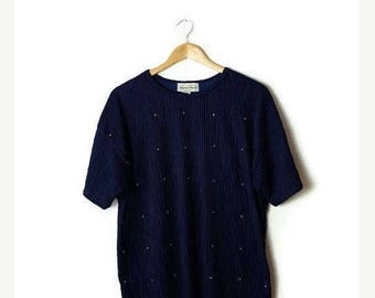 ON SALE Vintage Oversized Navy x Gold Studs Slouchy T-shirt from 80's*