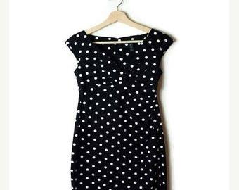 ON SALE Ralph Lauren Black x White Polka Dots Mini Dress/Marine look/XS-S*