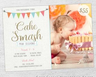 Cake Smash Mini Session Template, Cake Smash Marketing Board, Photoshop Template, Cake Smash Template, 1st Birthday - 02-MB-00-001