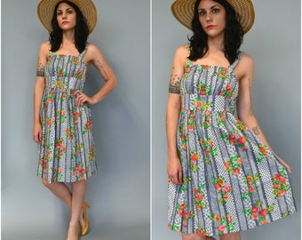 1970s 80s floral cotton sundress- size medium