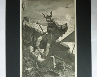 1880s Antique Norse Folklore Print of a Viking Warrior and his Lover Homeward Bound on a Ship