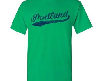 Portland City Script T-Shirt - Green