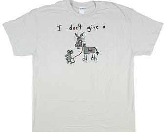 I Don't Give A Rat's Basic Cotton T Shirt - Grey