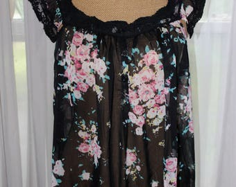 Vintage 1990's Sheer Blouse With Floral Print And Lace Trim