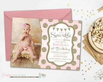 Sparkle Birthday Invitation, Blush Pink Invitation, Pink and Gold Birthday Invitation, Glitter Birthday Invitation, Pink and Gold Invitation